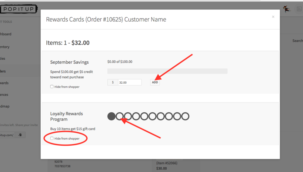 "Screen shot of a loyalty rewards card from the Orders page before you apply purchases to ""Spending"" or a ""Punches"" type of reward."