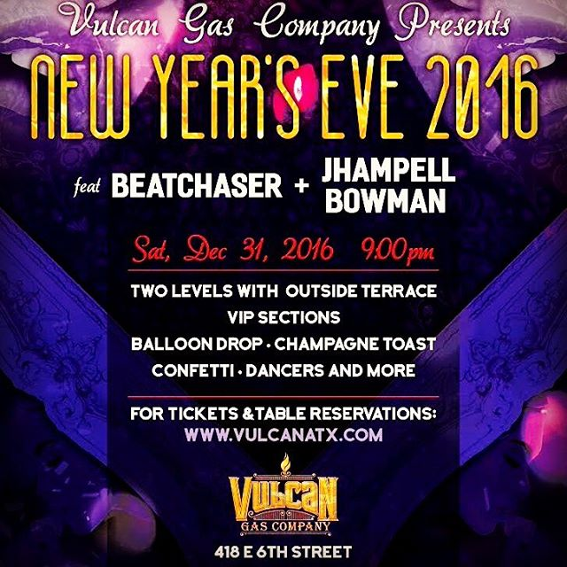 Ring in 2017 @vulcanatx  with @BEATCHASER + @jhampell.musica TONIGHT! #champagne #NYE #Atx #party #dance #dranks