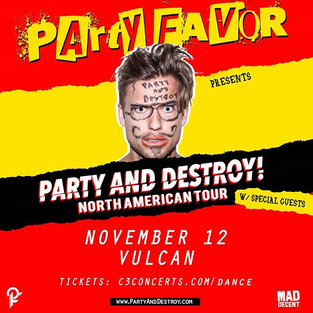 ON SALE NOW!  @partyfavormusic is coming to Vulcan Nov 12! 🔥 🔥  Tickets ➟ c3concerts.com/dance #dancemusicaustin