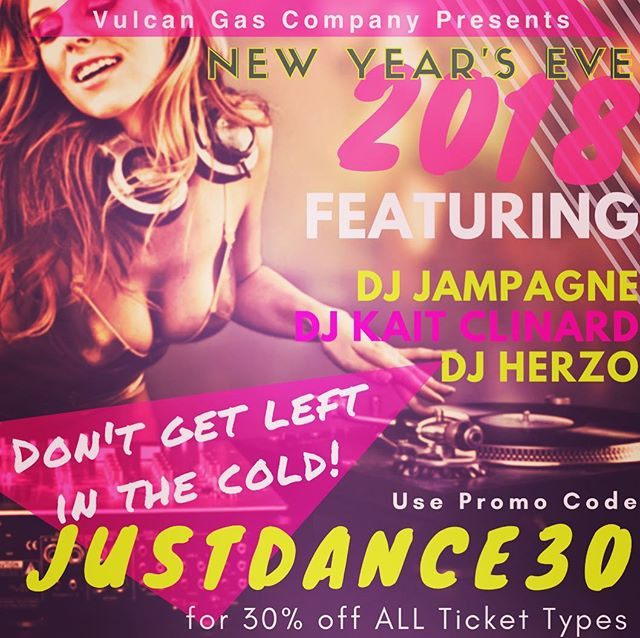 Hey Procrastinators, it's decision making time- and we've made it easy!  Use promo code: JUSTDANCE30 for 30% off ANY TICKET TYPE! Get your friends and @vulcanatx #NYE tickets NOW! http://bit.ly/NYE18LastCall  @djjampagne @kaitclinard @herzomusic #djjampagne #nye #champagne #2018 #atx #austin #party #dance
