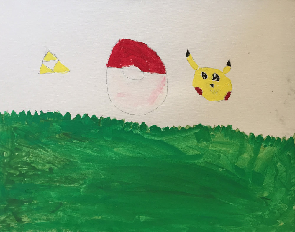 Pickachu, Pokemon Ball and Triforce. Makayla D.JPG