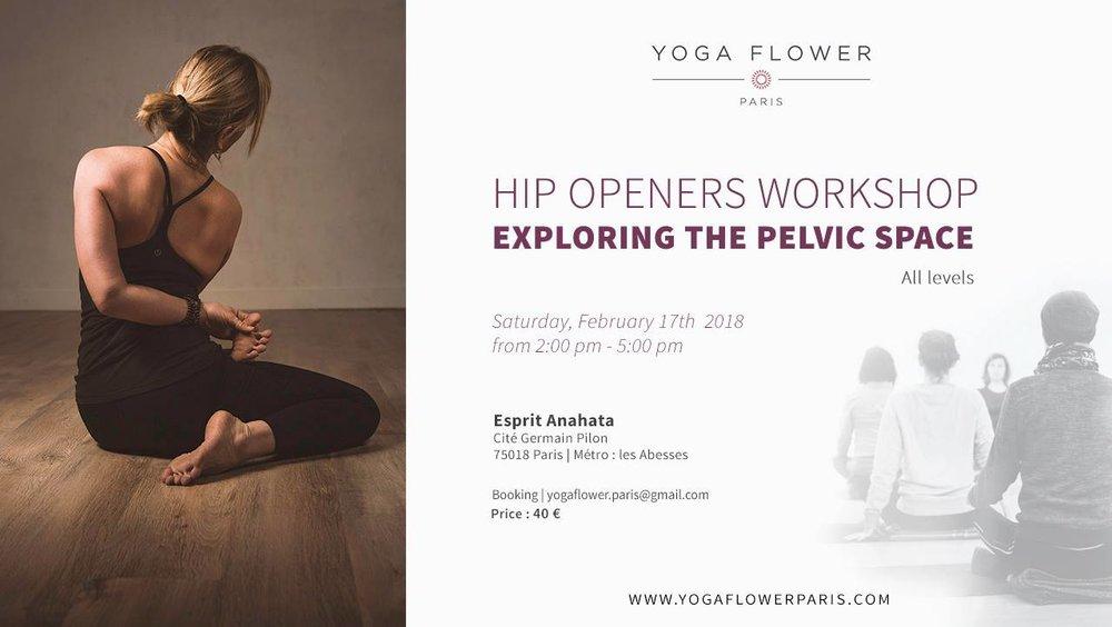Saturday,February 17th, 2018  14h-17h   Esprit Anahata, Cité Germain Pilon, 75018 Paris (M°Abbesses/Pigalle)     http://www.supersaas.fr/schedule/esprit_anahata/yoga