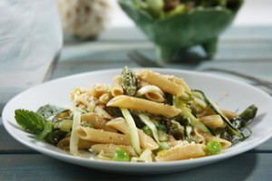 Gorgeously Green Penne Spring Pasta - Mediterranean Diet Month Pasta Recipes