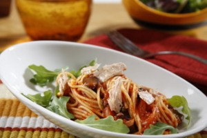 Zesty Tomato Spaghetti with Tuna and Black Olives