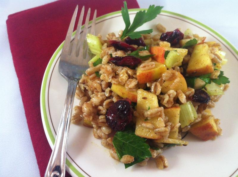 Fall Farro Salad with Spiced Apples and Walnuts