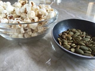 Pumpkin seeds + chili-spiced popcorn