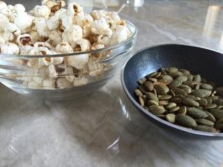 Pumpkin seeds + chili-spiced popcorn