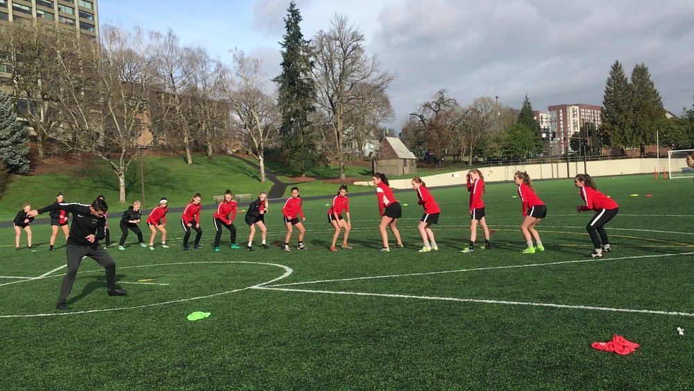 Thorns FC DA in Performance Session with GCS Staff   Performance Development sessions are great opportunities for athletes to develop their sprinting skills in relation to technical and tactical aspects of Soccer.