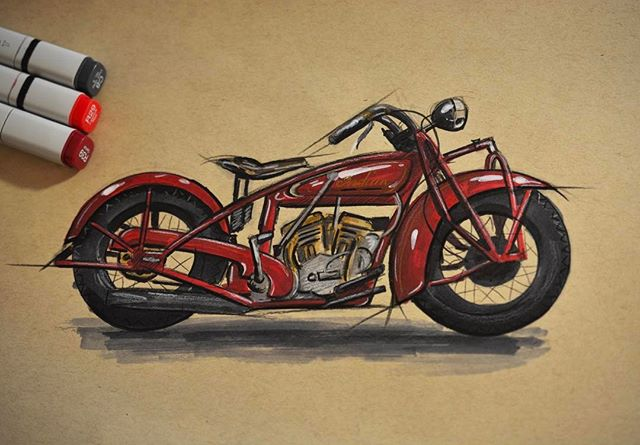 Finally got around to breaking out the markers again. 1928 Indian 101 Scout  #idsketching #copicmarkers #indianmotorcycle #sketchbook #art #instaart #industrialdesign #productdesign #illustration