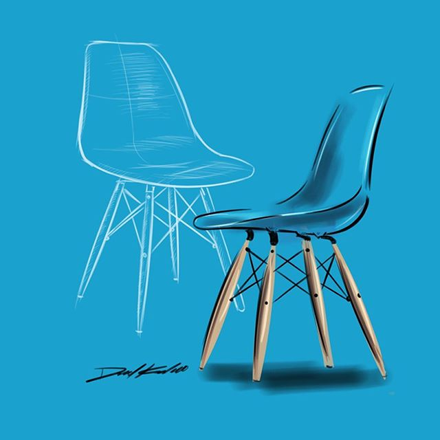 Quick and dirty Eames chair.  #idsketching #sketchbook #industrialdesign #furnituredesign #sketchbookpro #art #instaart #eameschair