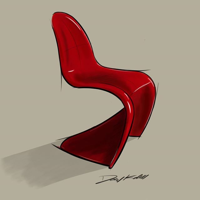 On a bit of a chair kick lately.  Red Panton chair  #idsketching #industrialdesign #furnituredesign #furniture #sketchbook #instaart #art #sketch #chair #productdesign