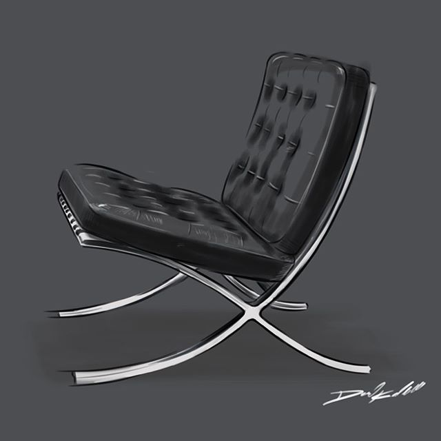 First week done! Barcelona chair I did for @michelleoliphant this past summer  #industrialdesign #idsketching #instaart #sketchbook #sketchbookpro #furnituredesign #art #sketch #productdesign #scadsavannah #scad