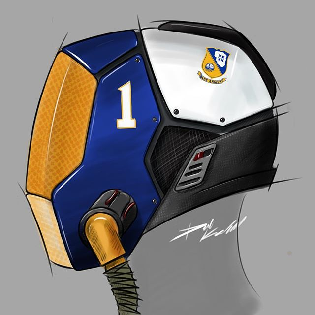 First sketch from the new school! I thought I'd join the #helmetchallenge with a future #blueangels flight helmet concept  #idsketching #productdesign #industrialdesign #helmet #sketchbook #art #instaart #navy #sketchbookpro
