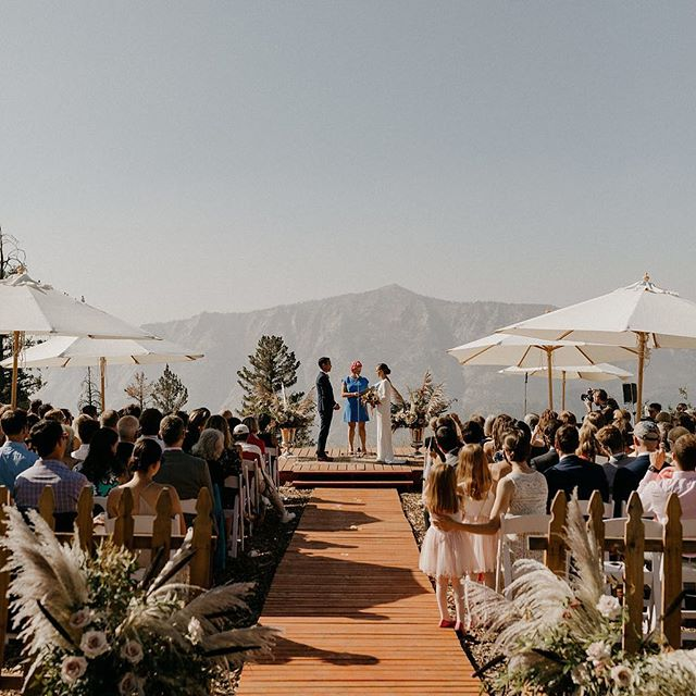 """When we found out just a few weeks from the wedding that the Park Service no longer would allow ceremonies at the top of the mountain, we searched high and low for the perfect alternate spot. This another example of a """"Plan B"""" turning out even more perfectly than the original plan. I love the magic of weddings in that way ❤️ #12DaysofBeHitched . . . Photography: @niravpatelweddings 