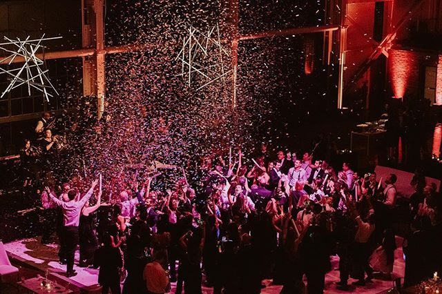 NOW THAT'S WHAT I CALL A PARTY 🎉 #12DaysofBeHitched . . . Confetti Cannons: @entireproductions | Videography: @goldandgumption | Photography: @annigraham | Planning + Design: @behitched | Floral Design: @chestnutandvine | Catering: @lrecatering | Rentals: @brighteventrentals | Tabletop China, Glassware + Flatware: @encoreeventsrentals | Specialty Rentals: @blueprintstudiosevents | Lighting: @gotlightsf | Linens: @latavolalinen | Paper Suite: @ladybones | Calligraphy: @curlicuedesigns | Custom Signage:  @brownfoxcalligraphy | Band: KJ & The All-Stars | Hair + Makeup: @rebeccawillowtaff | Photo Booth: @thebosco | Coffee Cart: @hedgecoffee | Brass Band: Brass Monkey | Venue: @cranewaypavilion