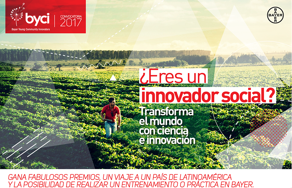 Si eres un innovador social, postula a la convocatoria Bayer Young Community Innovators aquí. ¡Recuerda que tienes hasta el 31 de Agosto 2017!