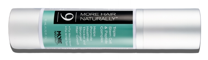 More Hair Naturally 9, the world's most advanced topical stem cell treatment for thinning hair. Triple Stem Cell & Peptide Complex.