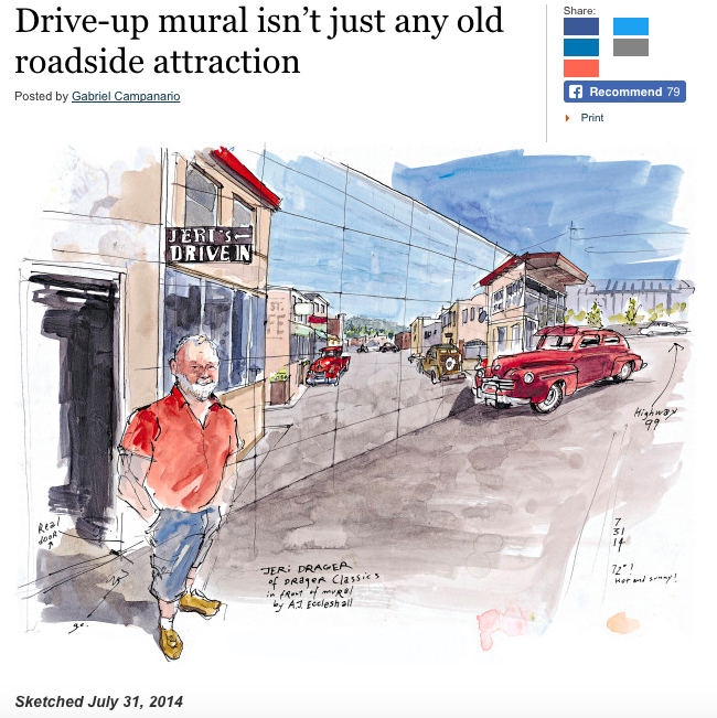 Seattle Sketcher paints Any Eccleshall mural