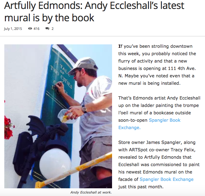 Andy Eccleshall paints Edmonds mural