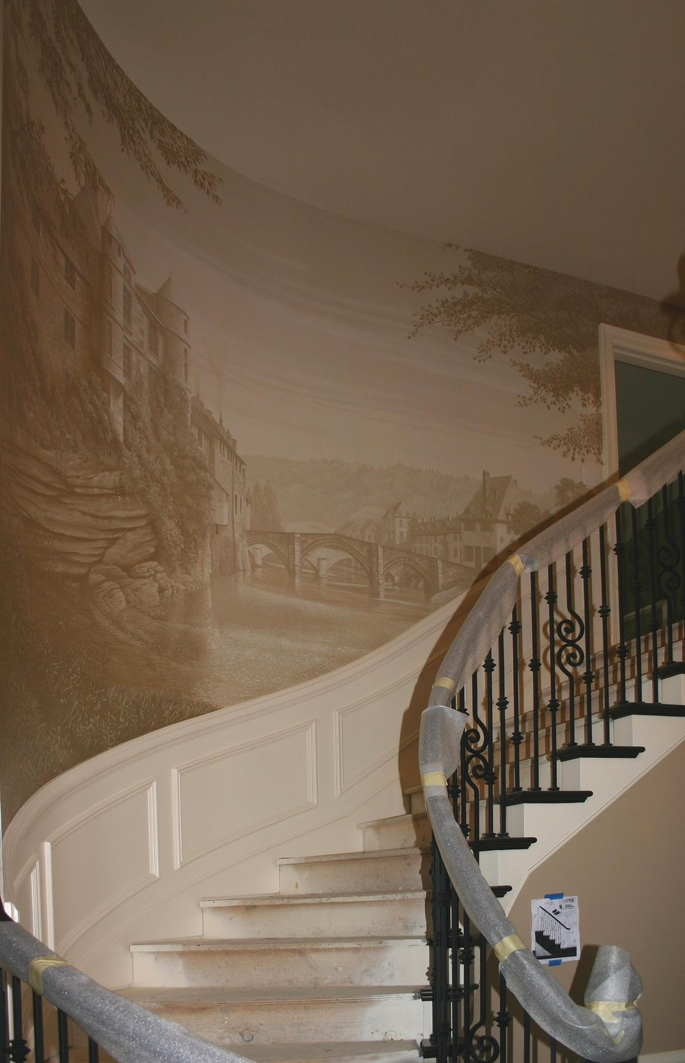 Sepia Toned Stairwell Mural