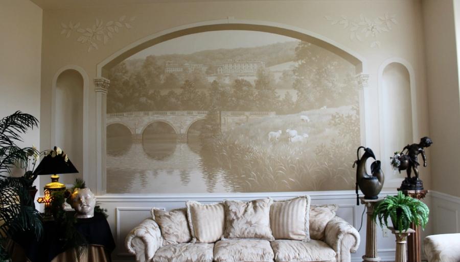 Sepia Toned Living Room Mural