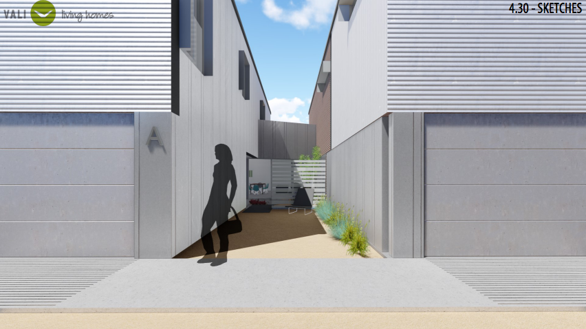 Front terrace and courtyard for unit A