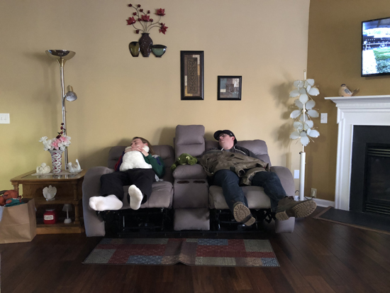 Me and my sister-in-law Kelsey's boyfriend Brian knocked out post-Golden Corral.