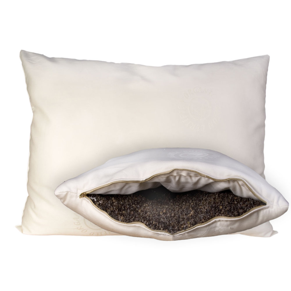 Wool-Wrapped Organic Buckwheat Hull Pillow