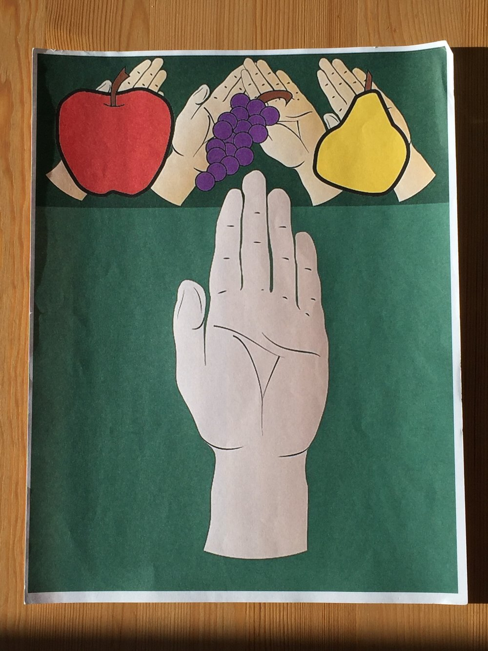 Image Target - To identify with the user (general public in the US) colors such as green, purple, and the placement of fruits at the top of the image were used to emphasize nutrition. The hand below the banner, helps to show the user where to place their hand.
