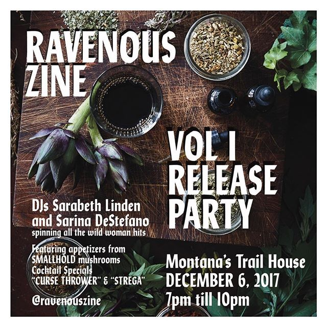 NYC TONIGHT @RAVENOUSZINE DEBUT RELEASE PARTY AT @MONTANASTRAILHOUSE 7-10PM 150 FULL COLOR PAGES AD-FREE, DRINK SPECIALS, MEET THE CONTRIBUTORS, COPIES AVAILABLE COME HANG!! Flyer📸 @shayharrington