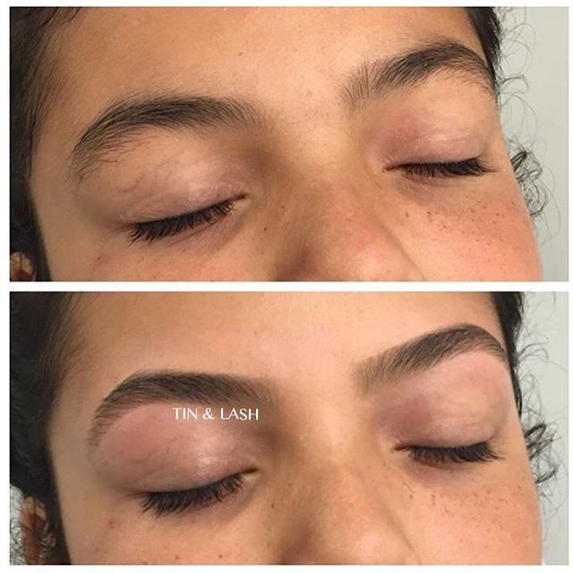 Custom brow design by our brow specialist Leanna! This service consists of brow mapping, waxing, and filling in your brows so you are ready to go out. #seattlebrows #tinandlash #browsonfleek #brows #waxing