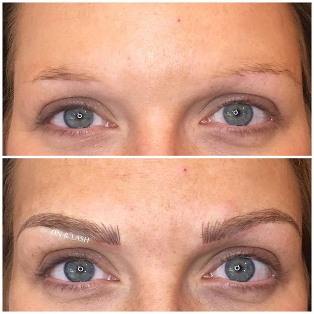 We don't do the same brows on everyone. We customize brows to natural hair growth and to your liking! #microblading #eyebrow #brows #tinandlash #seattlebrows #micropigmentation #pmu