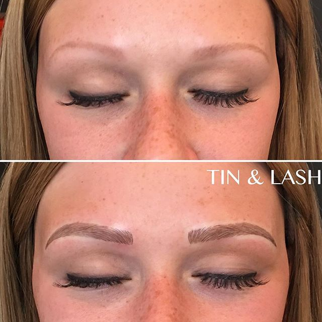What a beautiful day to not worry about drawing your brows in 🤗 #microblading #micropigmentation #eyebrow #beauty #seattlebrows #tinandlash #eyebrows #pmu #beforeandafter