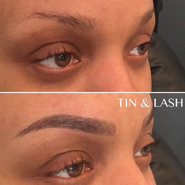 Happy Saturday everyone! #beforeandafter #microblading #eyebrow #brows #ombrebrows #seattlebrows #tinandlash #pmu #hairstrokes