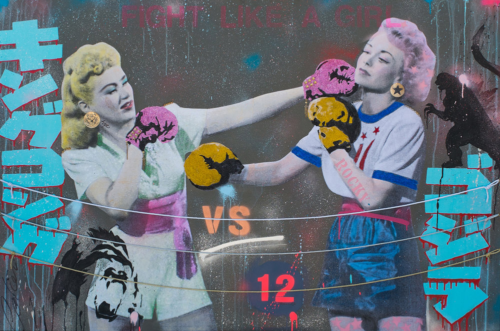 """She's simply a badass fighting another badass""   Mixed media on canvas / Technique mixte sur toile  48""x72""   Contact for inquiries / Contactez-moi pour achat"