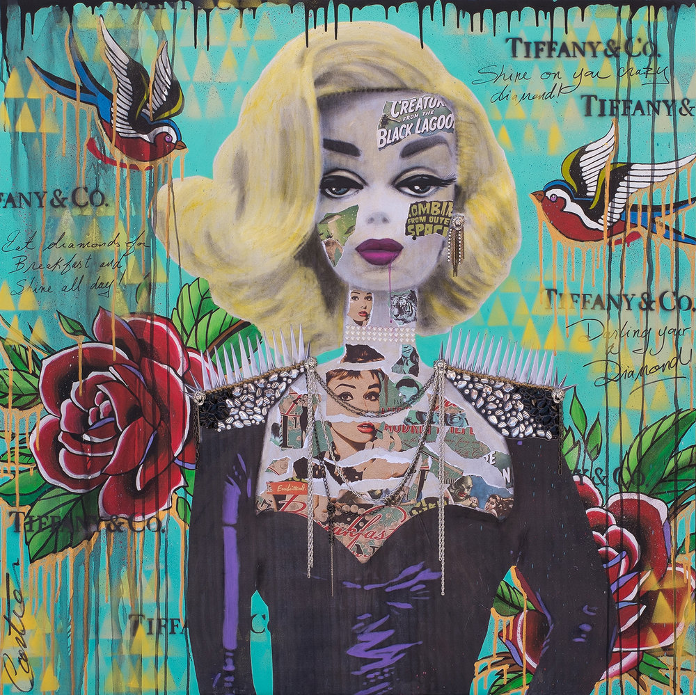 """She's having breakfast at Tiffany's""   Mixed media on canvas / Technique mixte sur toile  48""x48""   Contact for inquiries / Contactez-moi pour achat"