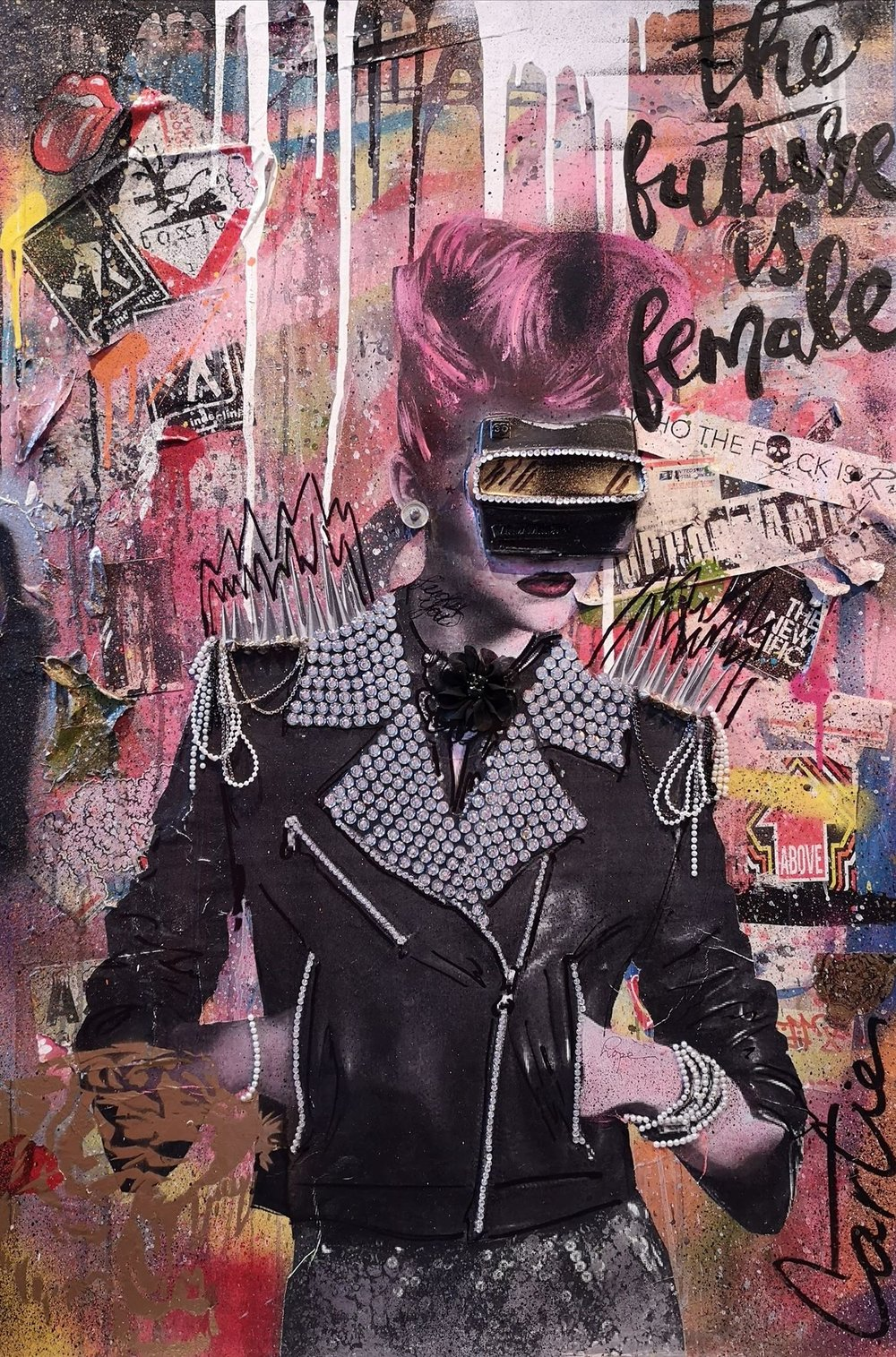"""She represents the future""   Mixed media on canvas / Technique mixte sur toile  24x36   Contact for inquiries / Contactez-moi pour achat"