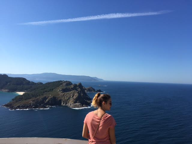 Little ol' me in front of one of the many panoramic views from the lighthouse hike on Cies Island