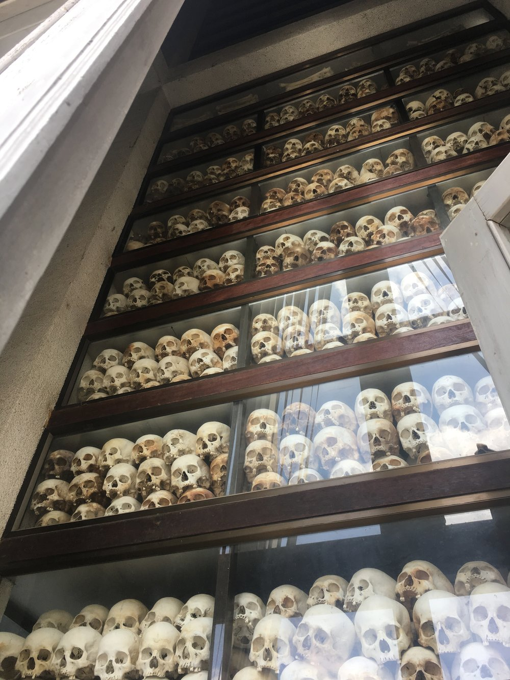 Skulls of the victims found at the Choeung Ek killing fields in 1978. Over 20,000 found dead in this particular killing field