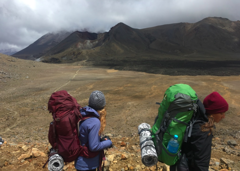 My friends and I taking the road less traveled on the Tongariro Trail in New Zealand