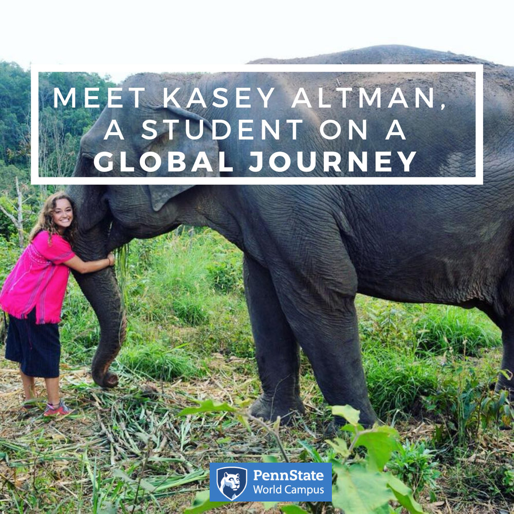 This is the first in an ongoing series from Kasey Altman, a Penn State World Campus student currently embarking on an impressive — and challenging — adventure. She hopes to experience as many sights, cultures, and traditions as possible around the world. Along the way, she is relying on technology and creative strategies to keep up with course work and complete her assignments.