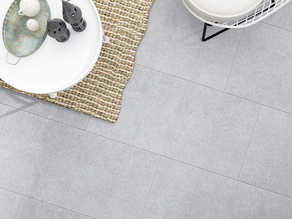 BASE -TERRAZZO Porcelain 1200x600 Mid grey.