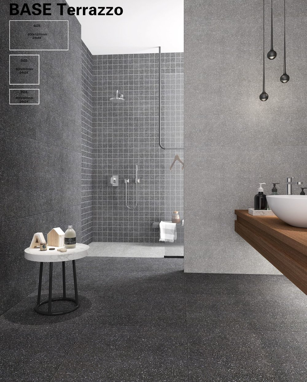 BASE -TERRAZZO Porcelain 1200x600 Dark Grey