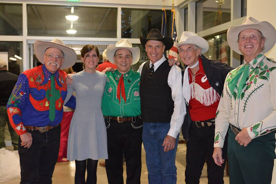 L to R: Too Slim (bass), Cara Wildman (bodhran/harmonica), Joey the Cow-Polka King (piano box), Phillip Wildman (guitar/vocals), Woody Paul (fiddle), Ranger Doug (guitar/vocals)
