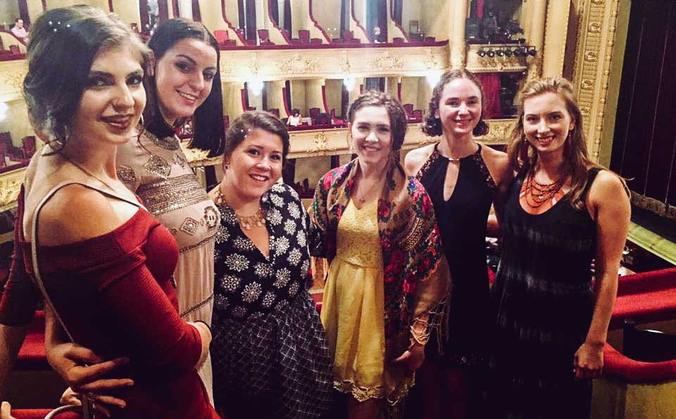 The ladies of the yearlong program at the opera: Софія, Катрусія, Ганна, Наталка, Калина, Катя. Photo by  Cobblestone Freeway Tours.