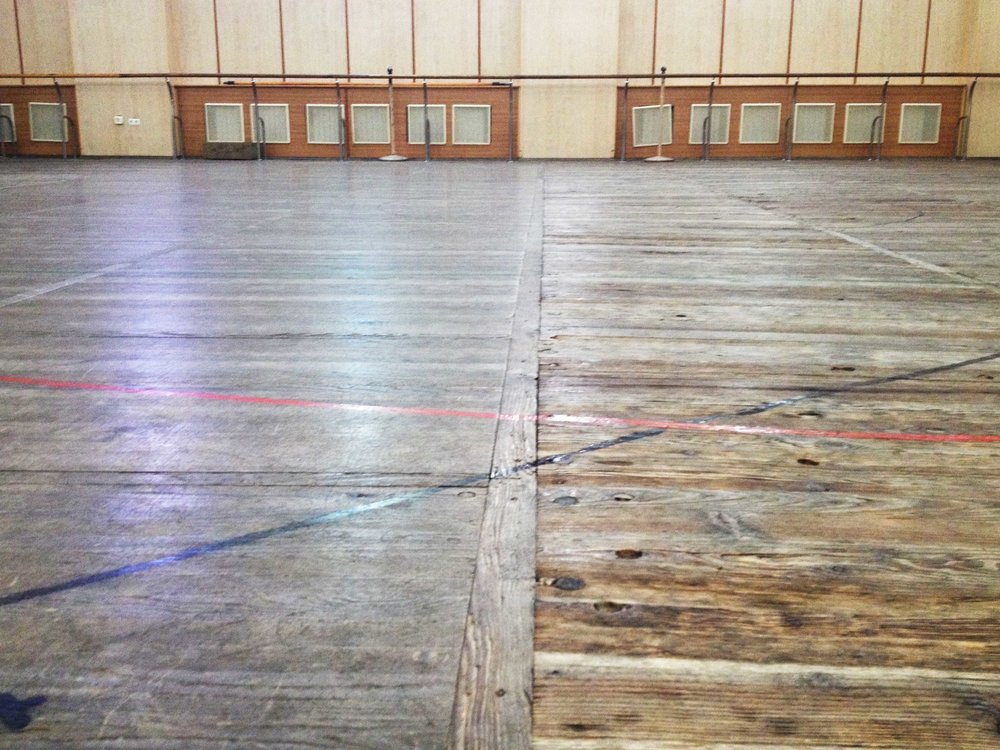 The new floor (left) versus the old floor (right).