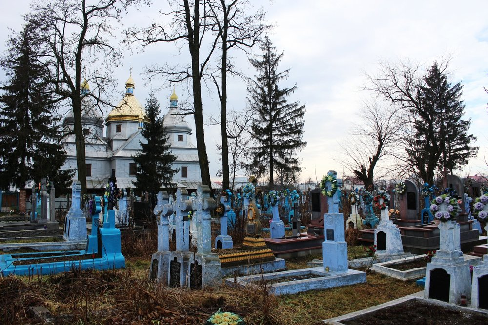 """The woman showing us around the village wasn't positive why so many of the tombstones were blue, but she suggested maybe it's to signify the """"cold, like their hearts."""""""