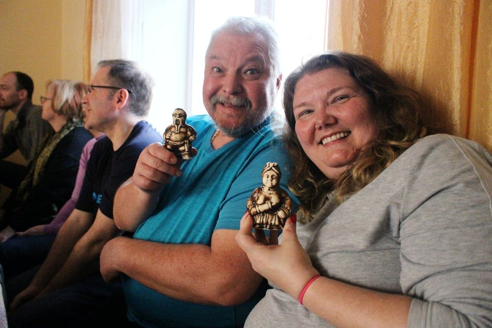 The newly weds on our tour received a gift (and well wishes to never look like the salt and pepper shakers they hold).