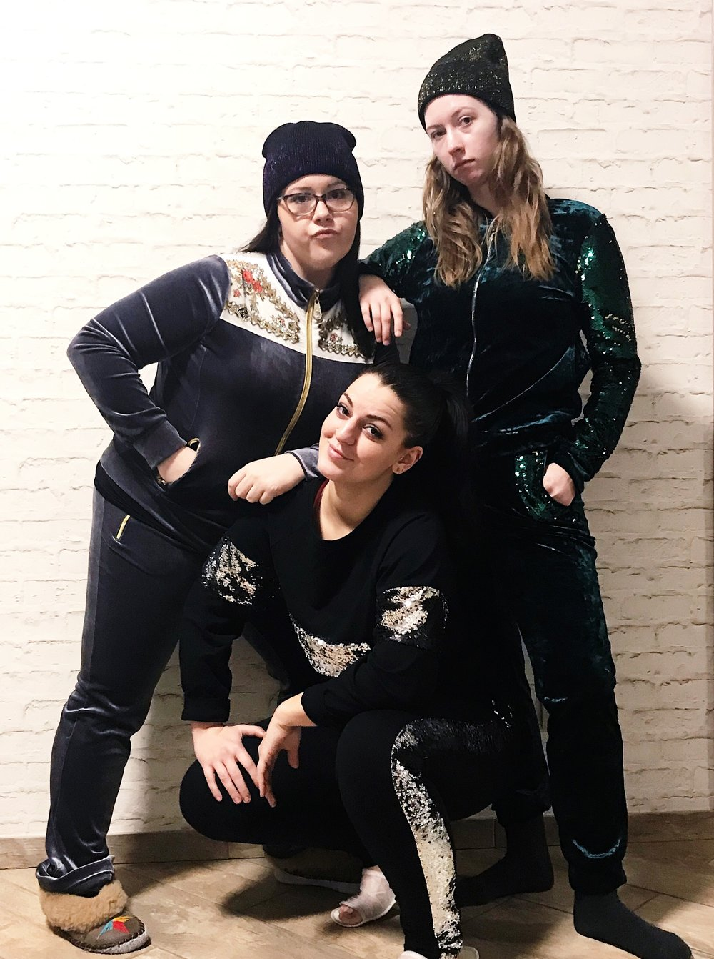 Yes, you are correct  —  the sequins on my tracksuit and Kaitlyn's tracksuit are double sided.