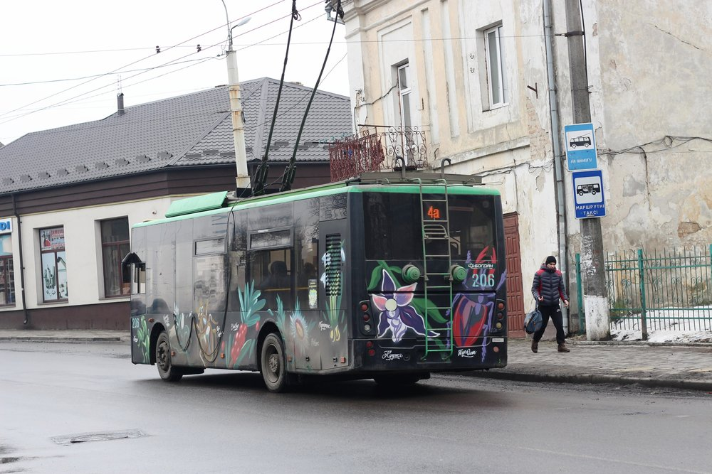 Lutsk is full of beautiful greenery and flowers, including on its buses.
